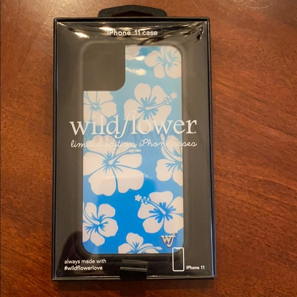 iphone 11 blue hibiscus wildflower phone case
